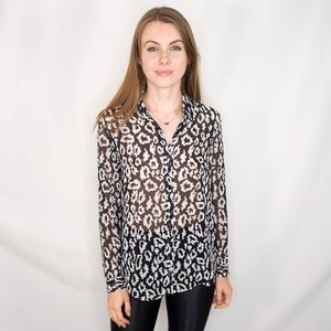 THE KOOPLES Abstract Print Button Blouse Shirt 787